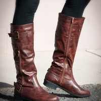 Bumper Freda-20 Buckle Knee High Riding Boot (Camel) - Shoes 4 U Las Vegas