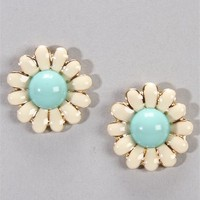 Ivory/ Mint Daisy Earrings
