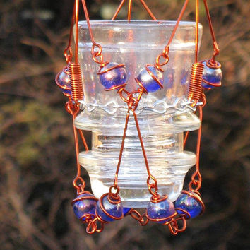 Hanging Candleholder with Copper Wrapped Upcycled Vintage Glass Insulator & Iridescent Blue Glass Marble Prisms, Home Decor