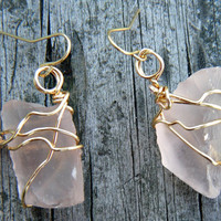 Beach Jewels. Wire Wrapped Sea Glass Earrings. Rare Frosted Bisque Pink and Gold Sea Glass Earrings