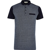 River Island MensNavy two tone cotton pique polo shirt