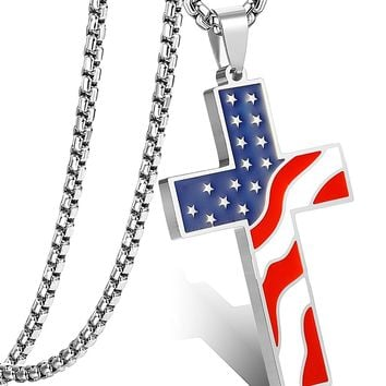 American flag Cross Pendant Necklace for Men Women Enamel Necklace Religious Jewelry.