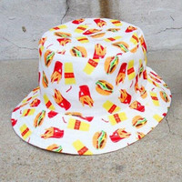 Chic Hamburgs Chips Beverage Pattern Color Block Bucket Hat For Women