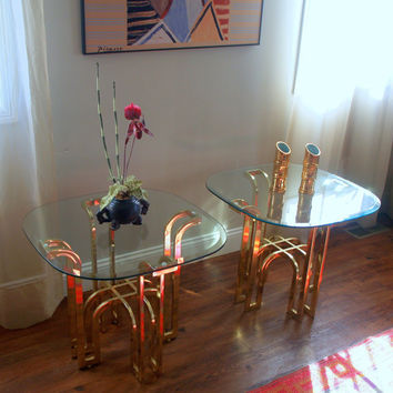 MODERNIST CONTEMPORARY VINTAGE End Tables Set of 2 Fabulous 1970s Brass and Glass Pair of Shiny Gold Beveled Glass Top Tables Furniture