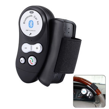 Car Steering Wheel Bluetooth V4.0EDR Hands-free Call Kit  Mic   LED Indicator - Black