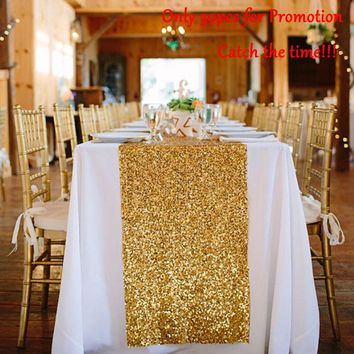 Sequin Table Runners Gold-12 by 72in Glitter Gold Table Runner-Gold Event Party Supplies Fabric Decorations For Wedding Birthday