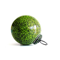 Green and black Christmas ornaments Hand painted glass ornaments
