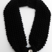 Knitted Black Cowl Scarf with Jewel Button
