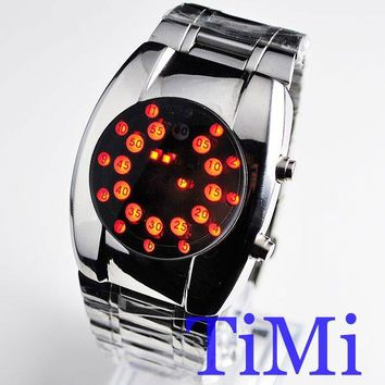 Red LED Dot Matrix Round Dial Men's Wrist Watch 80S