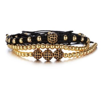 1Set 3pcs Retro Skeleton bracelet set Braided Adjustable Men Bracelets 24K gold color Beads & 8mm Fashion Bracelet