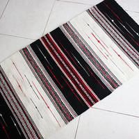 Black and white rug with red accents, high quality unique handwoven wool rug