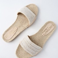 Kimay Natural Espadrille Pearl Slide Sandals