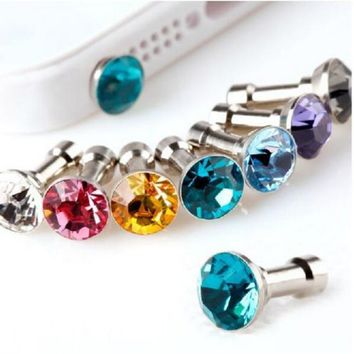 10pcs Crystal Diamond 3.5mm Dust Plug Earphone Jack For Iphone 6 Plus 5S 4S 5 6 Dust Plug Earphones Random Color