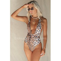 Tahiti Leopard Buckle Strap Plunging One Piece