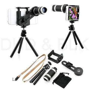 8x mobile phone external camera tripod magnifying glass telephoto magnifier optical instrument phone camera lupa