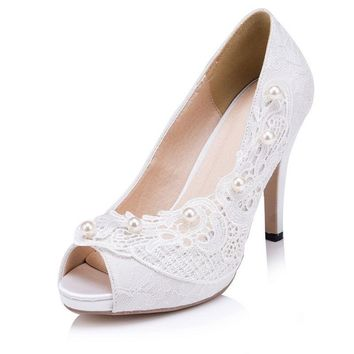 New Arrival Beading Pearls Lace Women Wedding Shoes White/Ivory Pumps High Heel Platform  Lace Women Shoes Peep Toes 615
