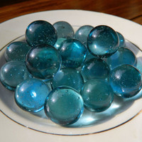 Vintage Clear Blue Glass Marbles - Set of 20 - Ocean / Sky Blue Color with Bubbles - Clearies