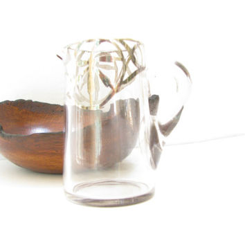 Vintage Silver Trim Glass Pitcher - Small Clear Glass Pitcher