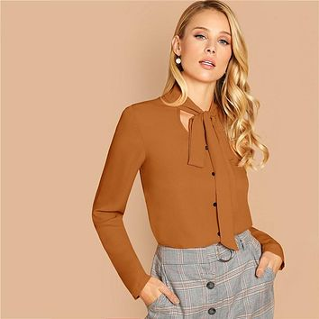 Brown Tie Neck Single Breasted Top Solid Blouse Women Workwear Office Lady  Long Sleeve Classy Blouses