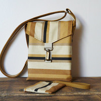 Canvas cross body bag and mini clutch purse mustard beige black striped messenger bag small tote bag