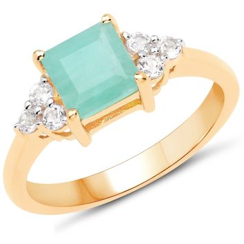 LoveHuang 1.12 Carats Genuine Emerald and White Topaz Ring Solid .925 Sterling Silver With 18KT Yellow Gold Plating