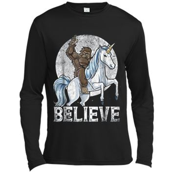 Bigfoot Riding Unicorn Funny Sasquatch Vintage Tees Long Sleeve Moisture Absorbing Shirt