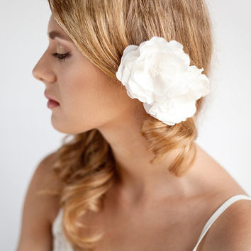 Bridal Flower Hair Piece Double - Wedding Hair Piece Ivory - Bridal Hair