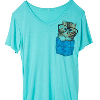 Kitty Pocket Tee - Mint
