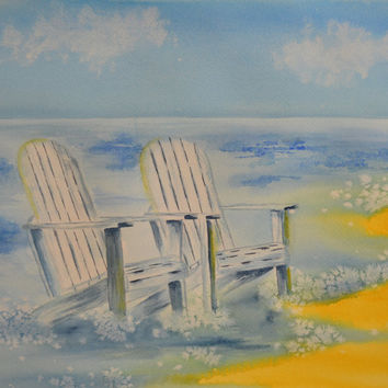 Art, Fine Art-Watercolor Painting of Adirondack Chairs on the Beach-Seascape