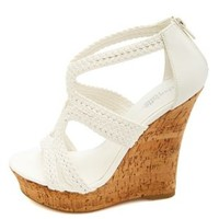 Strappy Braided Platform Wedge Sandals by Charlotte Russe - White