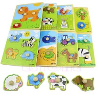 Colorful Animal Plane Puzzle Toy Kids Learning Educational Wooden Toy