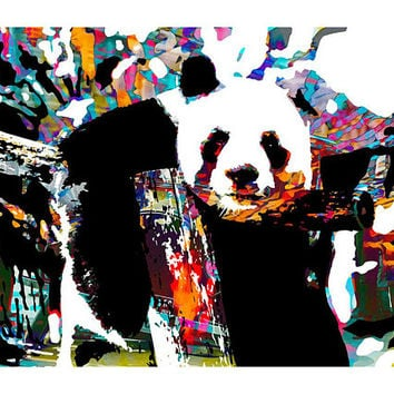 Panda Print - Panda Art Print - Surreal Art - Fantasy - Colorful Panda Poster - Nature Home Decor - Panda Gift