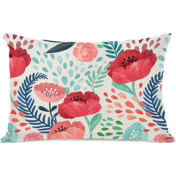 """Central Park Florals"" Outdoor Throw Pillow by OneBellaCasa, 14""x20"""