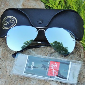 Ray Ban Dark Green Mirror / Silver Metal Frame Aviator Sunglasses RB3449 RB 3449