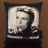 David Bowie pillow made from a repurposed vintage graphic tee