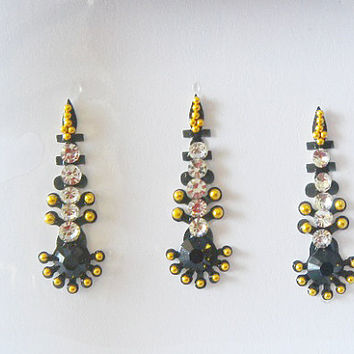 3 Pack-9 Black bindi,Bollywood golden black wedding tikka,forhead jewelry,Festival Face jewels,Long gold bindi,Indian wedding jewelry,Bindis