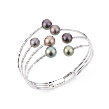 IMPERIAL PEARLS BY JOSH BAZAR: MULTI-COLORED TAHITIAN PEARL & AND DIAMOND CUFF BRACELET IN 14K GOLD