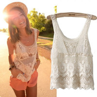 Women Summer Hippie Bohemian Vintage Chic Crochet Lace Beige Sexy Tank Vest Top (Color: Beige) = 1928358276