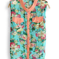 Turquoise Floral Print Pocket Sleeveless Curved Hem Shirt - Sheinside.com