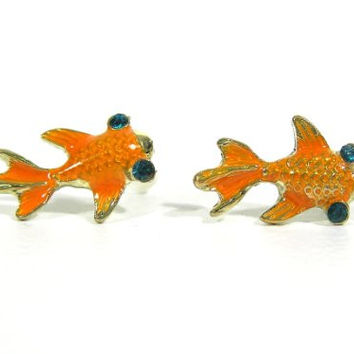 Gold Fish Stud Earrings Orange Koi Pisces Zodiac EB06 Pave Crystal Posts Fashion Jewelry