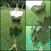 Woodland Tinkerbell Style velvety Dress and Wings Costume SET