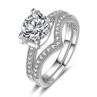 Engagement Rings for Women 925 Sterling Silver 1ct Round Brilliant Cut Cubic Zirconia Wedding Promise Ring for her - VIKI LYNN