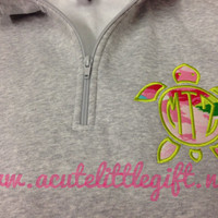 1/4 zip with Turtle monogram using Lilly Pulitzer fabric