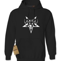 Satanic Goat Head Pentagram  Adult Hoodie Sweatshirt
