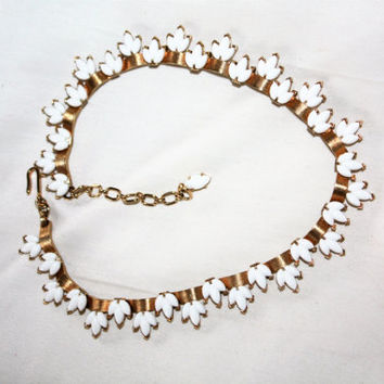 Vintage Trifari Necklace, Collar Choker Milk Glass, Designer 1960s Jewelry