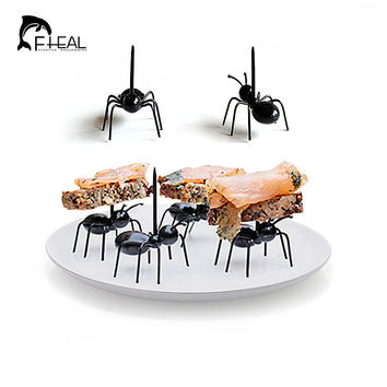 FHEAL 12pcs/set Cute Mini Ant Fruit Fork Eco Friendly Plastic Easy Decoration Kitchen Bar Kids Dessert Forks Tableware