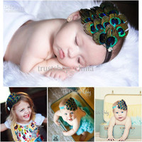 Baby Girl Premium Peacock Feather Fascinator Teal Headband Newborn Toddler Headbands Crafts Decoration Must Have For Photographers