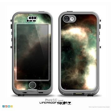The Dark Green Glowing Universe Skin for the iPhone 5c nüüd LifeProof Case