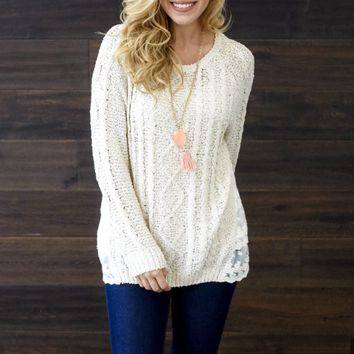 Beige-Cable-Knit-Lace-Back-Sweater