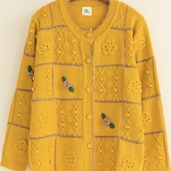 New Women Yellow Plaid Appliques Sweet Cardigan